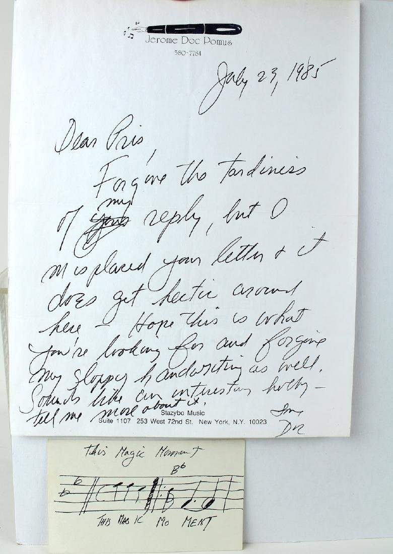 "Jerome Doc Pomus ""This Magic Moment"" Signed Letter - 2"