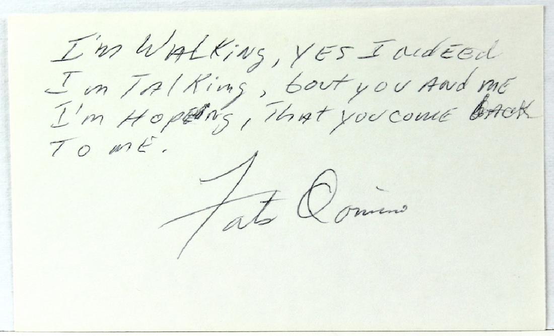 Fats Domino Signature with Lyrics to I'm Walking