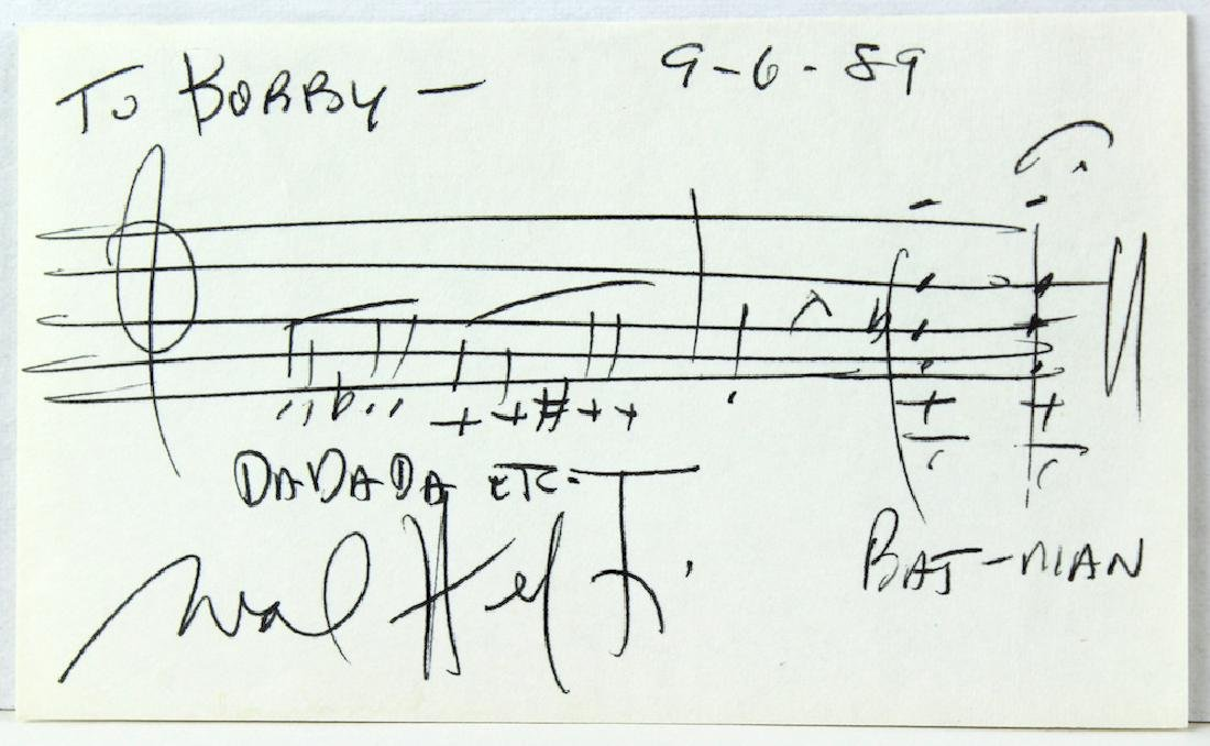 Neal Hefti Signed Batman Theme Music Card