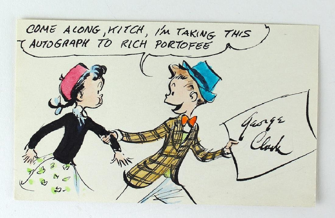 George Clark Hand Colored Signed Cartoon