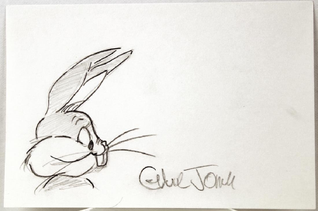 Chuck Jones Signature and Bugs Bunny Drawing