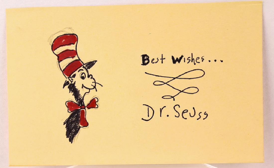 Dr. Seuss Signed Card with the Cat in the Hat.