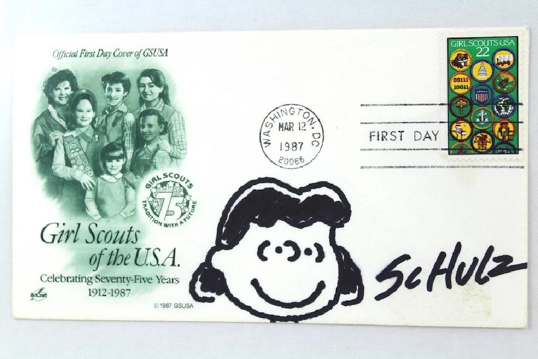 Charles Schulz Drawing of Lucy and Signature