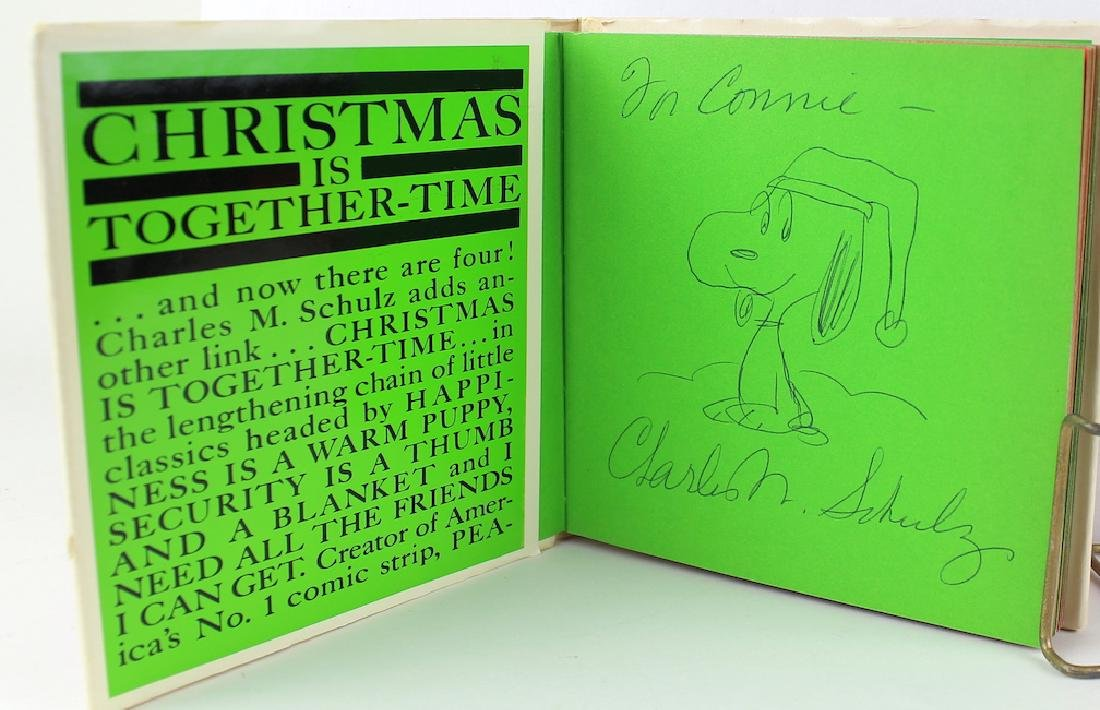 Charles Schulz Book with Added Drawing & Signature