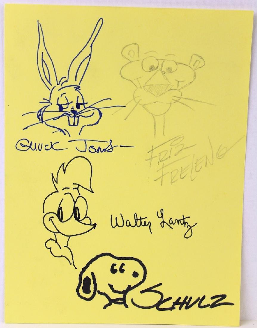 Chuck Jones, Walter Lantz, Schulz, Friz Freeleng Sign - 2