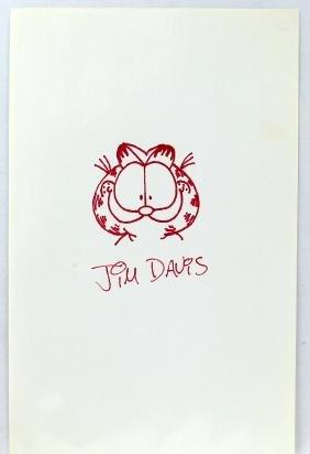 Jim Davis Autograph & Garfield Drawing