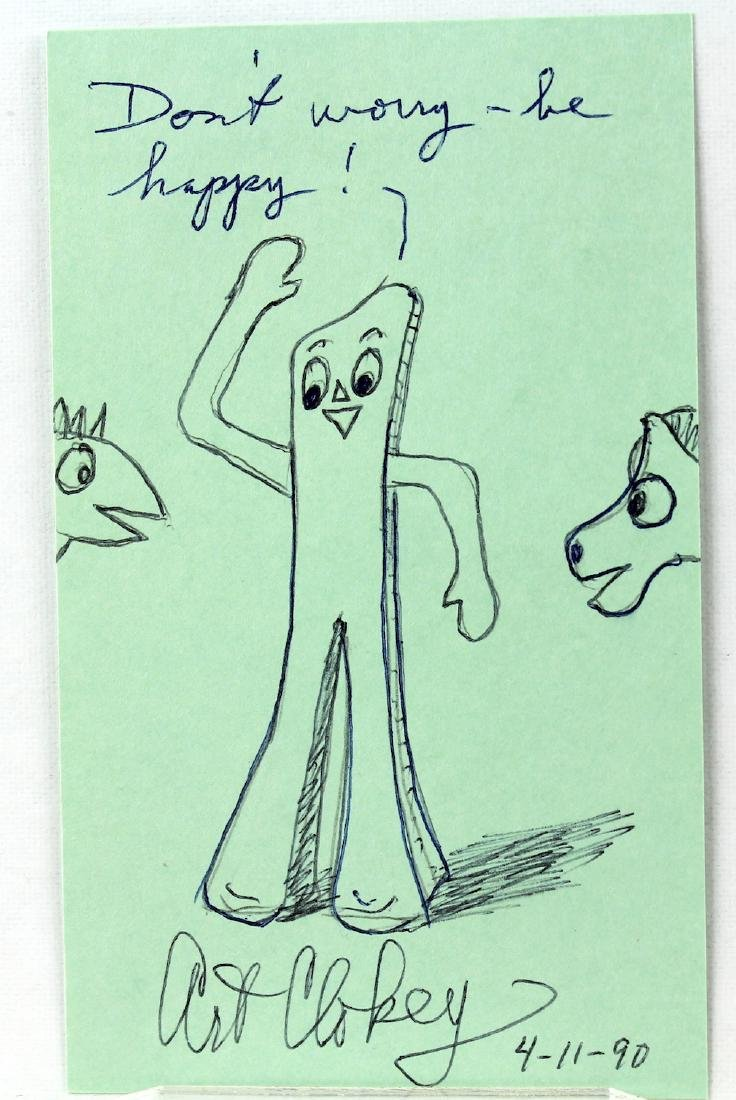 Art Clokey Gumbey & Pokey Drawing and Signature