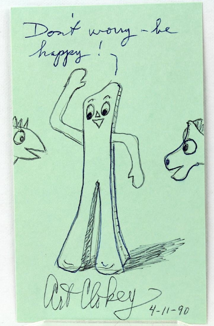 Art Clokey Gumbey & Pokey Drawing and Signature - 2