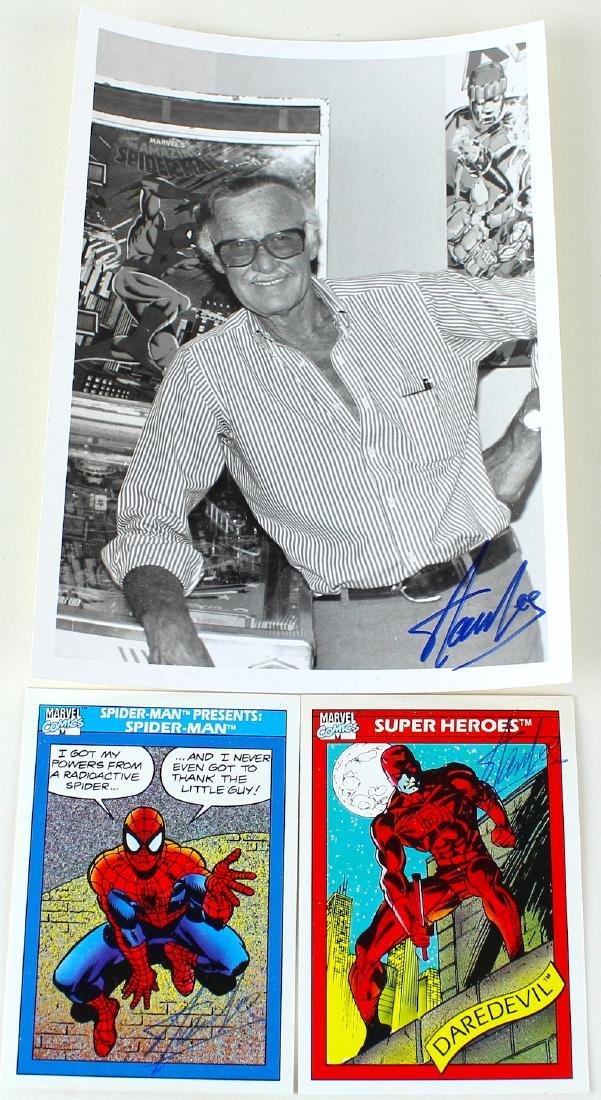 Stan Lee Autographed Spider Man & Dare Devil Cards &