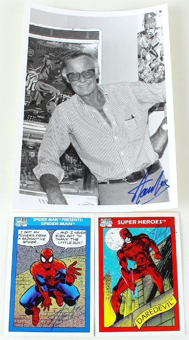 Stan Lee Autographed Spider Man & Dare Devil Cards & - 2