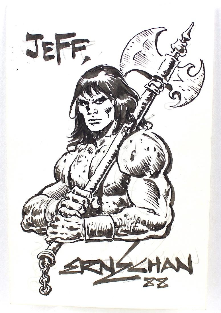 Ernie Chan Signed Drawing of Conan The Barbarian