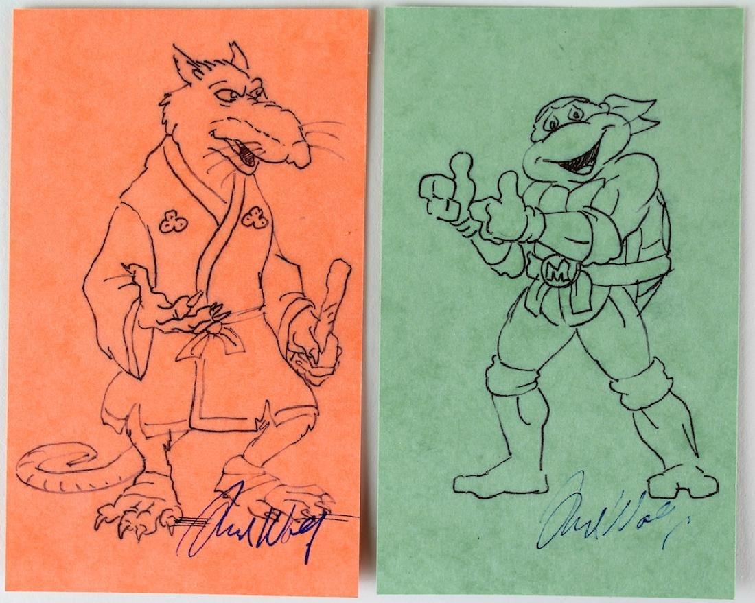 Fred Wolf Signed Teenage Mutant Ninja Turtles Drawings
