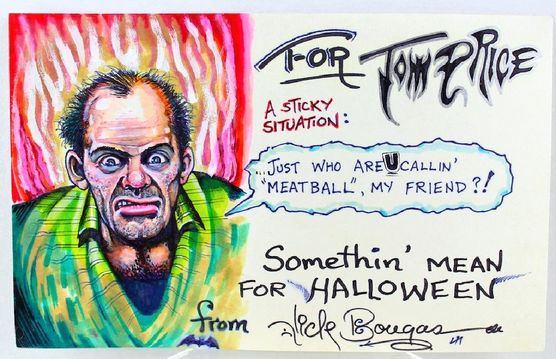 Nick Bougas Elaborate Signed Cartoon-Halloween Theme
