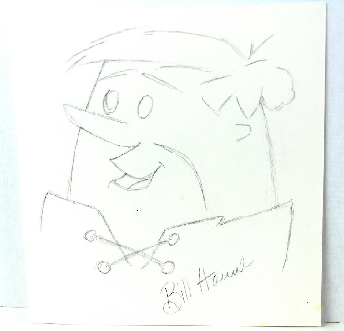Bill Hanna Signed Drawing of Barney Rubble