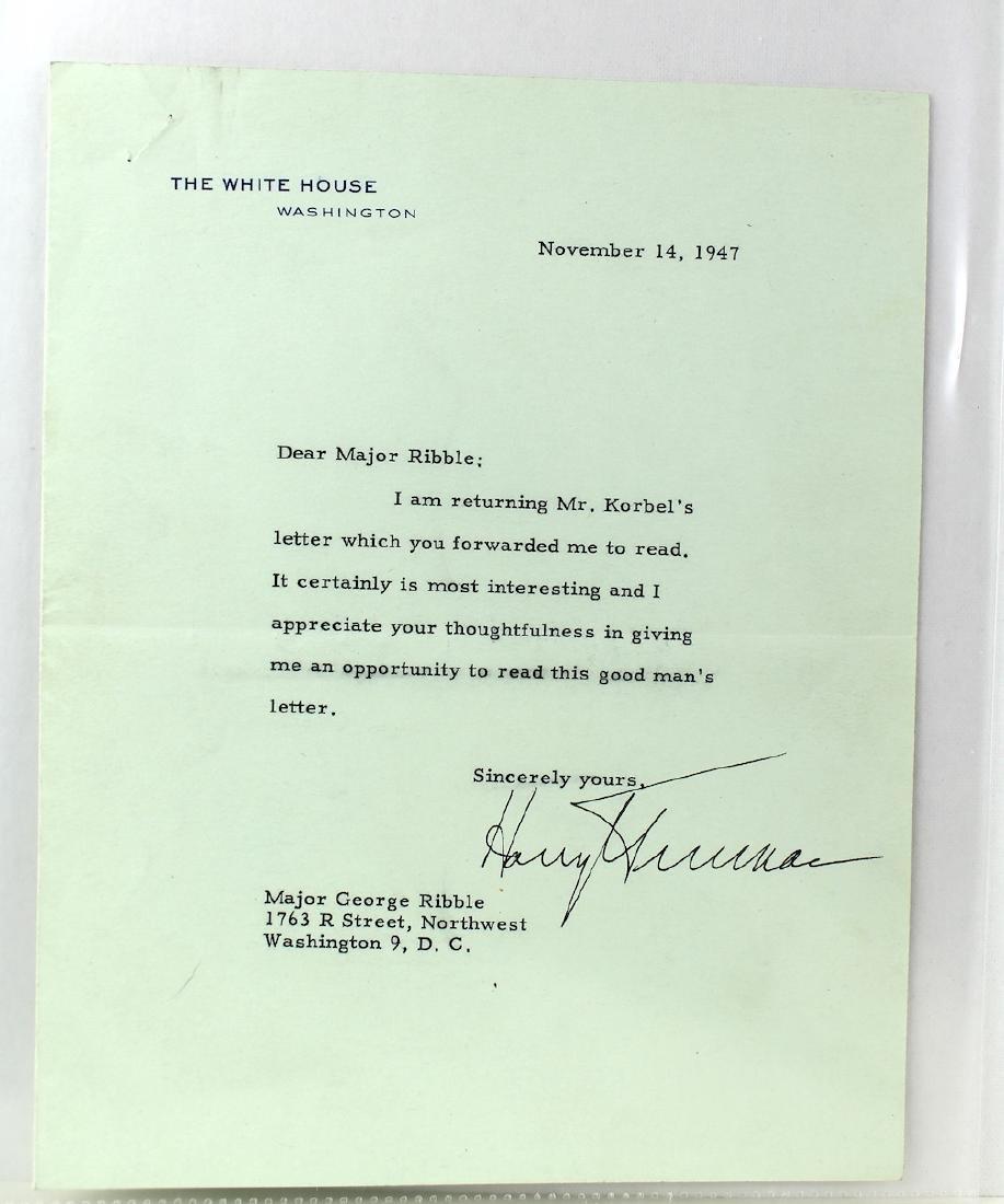 Harry S. Truman 33rd President Letter & Signature