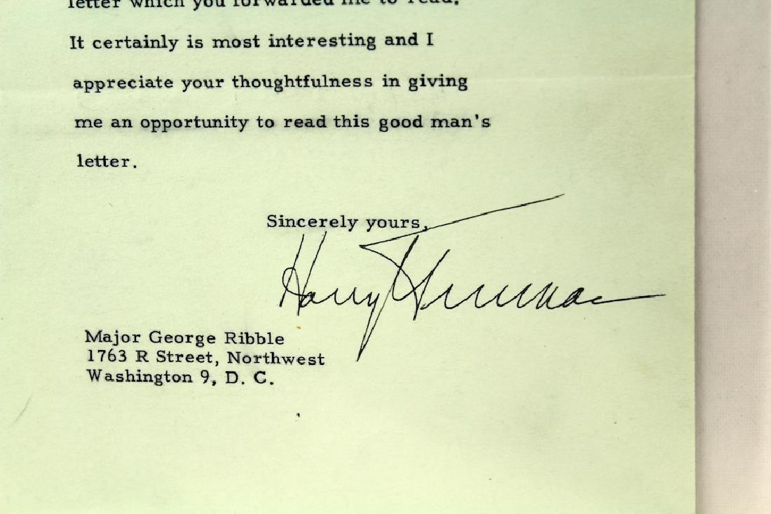 Harry S. Truman 33rd President Letter & Signature - 2