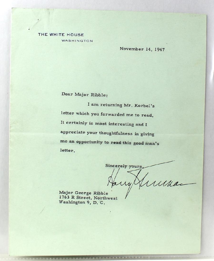 Harry S. Truman 33rd President Letter & Signature - 3