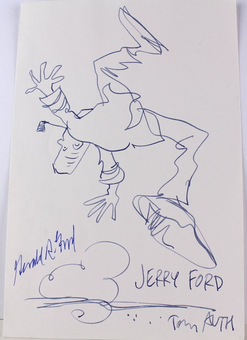 Gerald Ford Signature on Tony Auth Signed Drawing