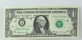 Ronald Reagan 40th President Signed Dollar Bill