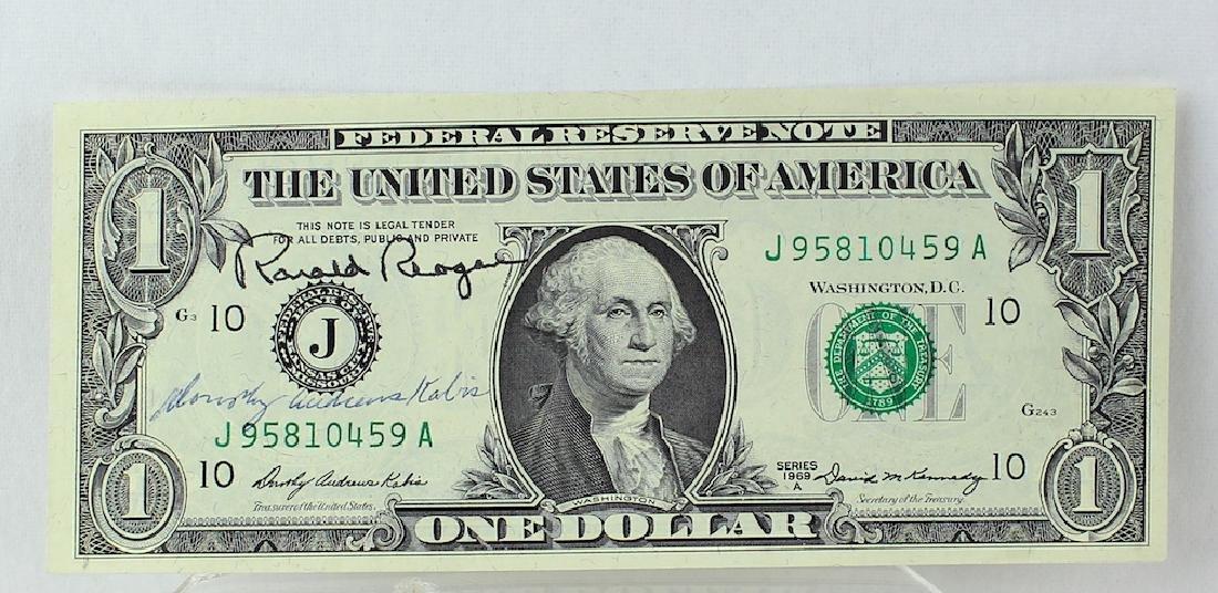 Ronald Reagan 40th President Signed Dollar Bill