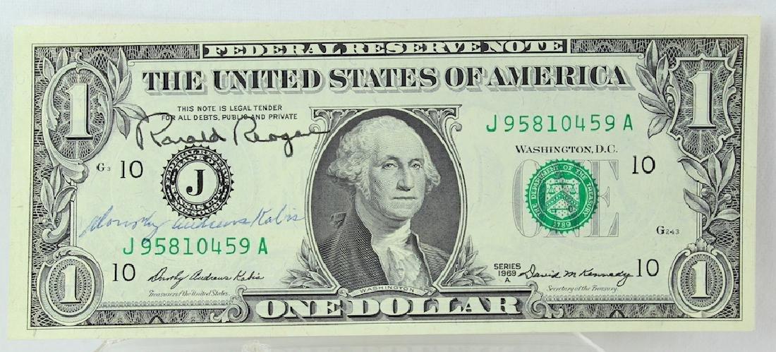 Ronald Reagan 40th President Signed Dollar Bill - 2