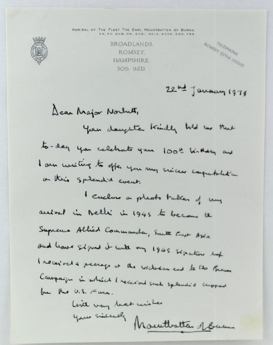 Earl Mountbatten of Burma Signed Letter Killed by IRA - 2