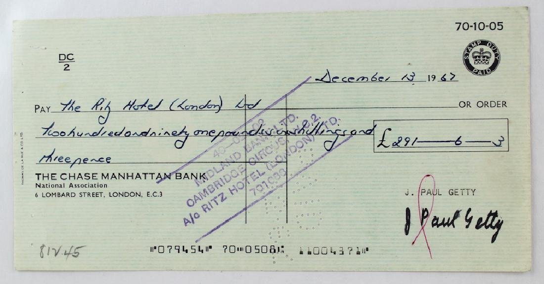 J. Paul Getty Signature on Check
