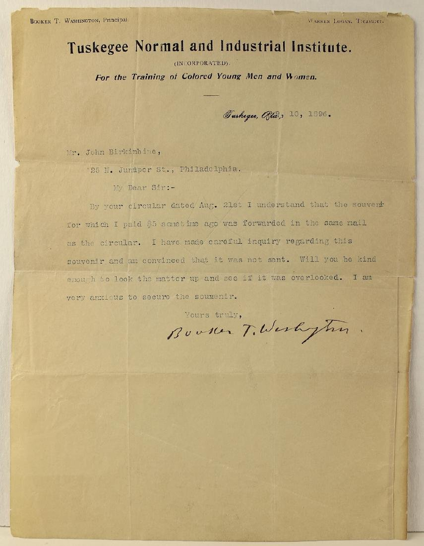 Booker T. Washington 1896 Signed Letter