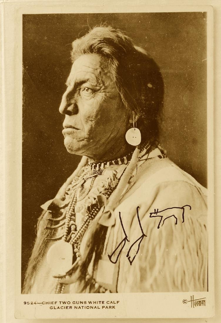 Chief Two Guns Signed Post Card Indian Symbols