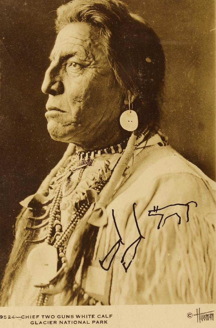 Chief Two Guns Signed Post Card Indian Symbols - 2