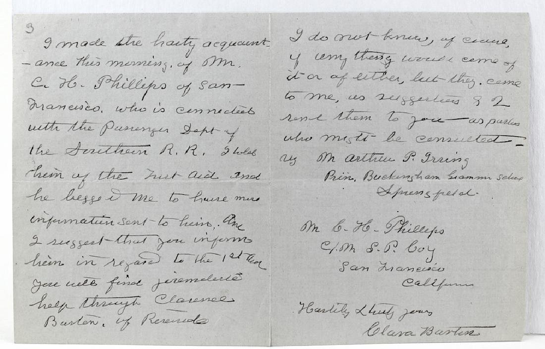 1909 Clara Barton 4 Page Signed Letter - 2
