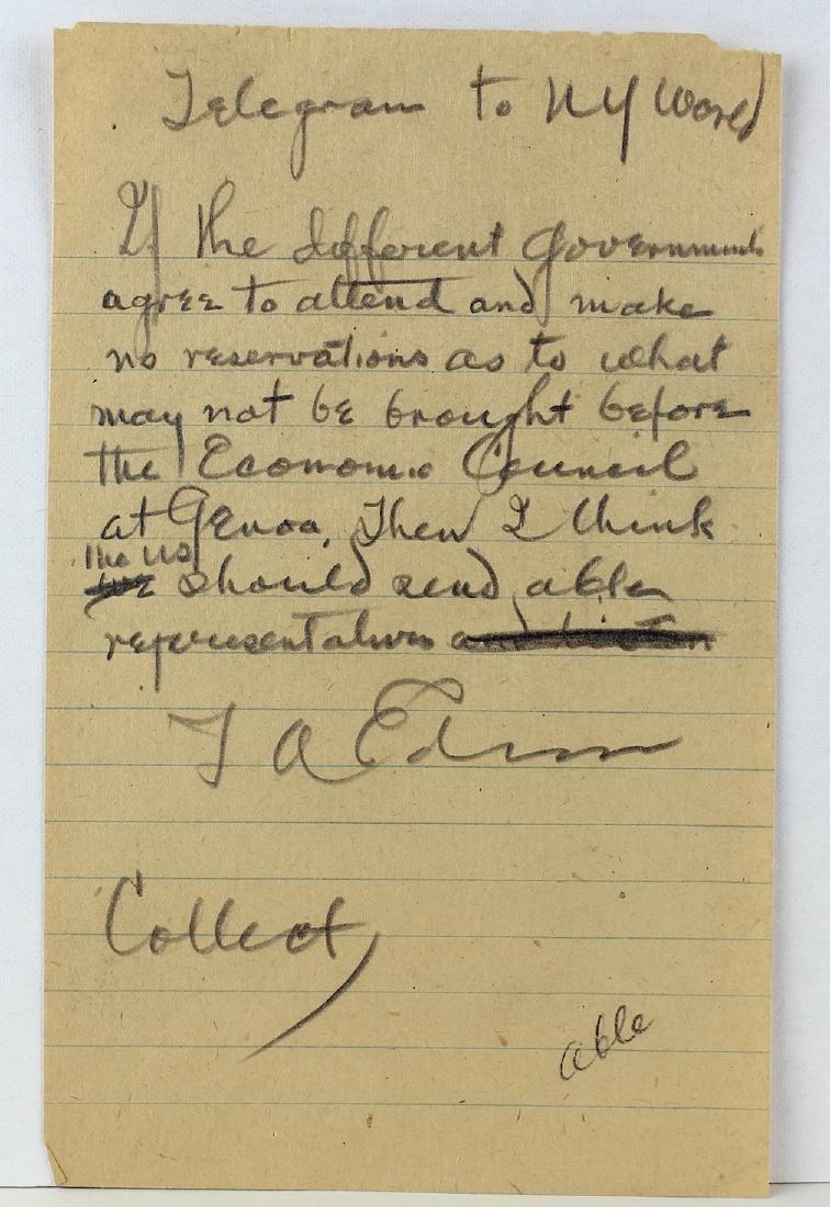 Thomas Alva Edison Signed Telegram Draft