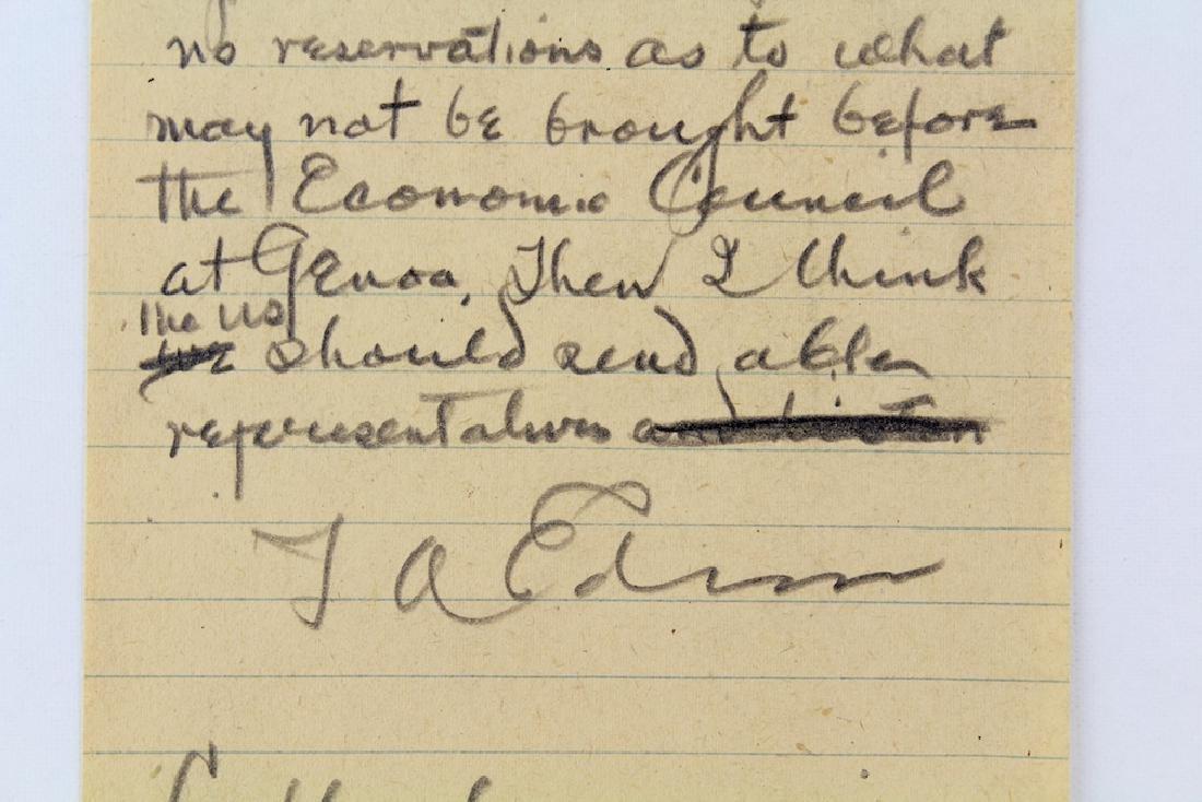 Thomas Alva Edison Signed Telegram Draft - 2