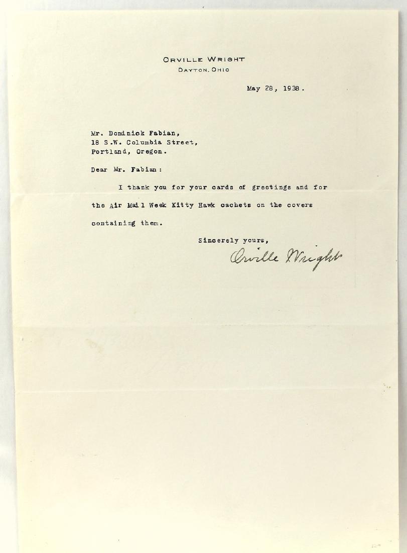 1938 Orville Wright Signed Letter