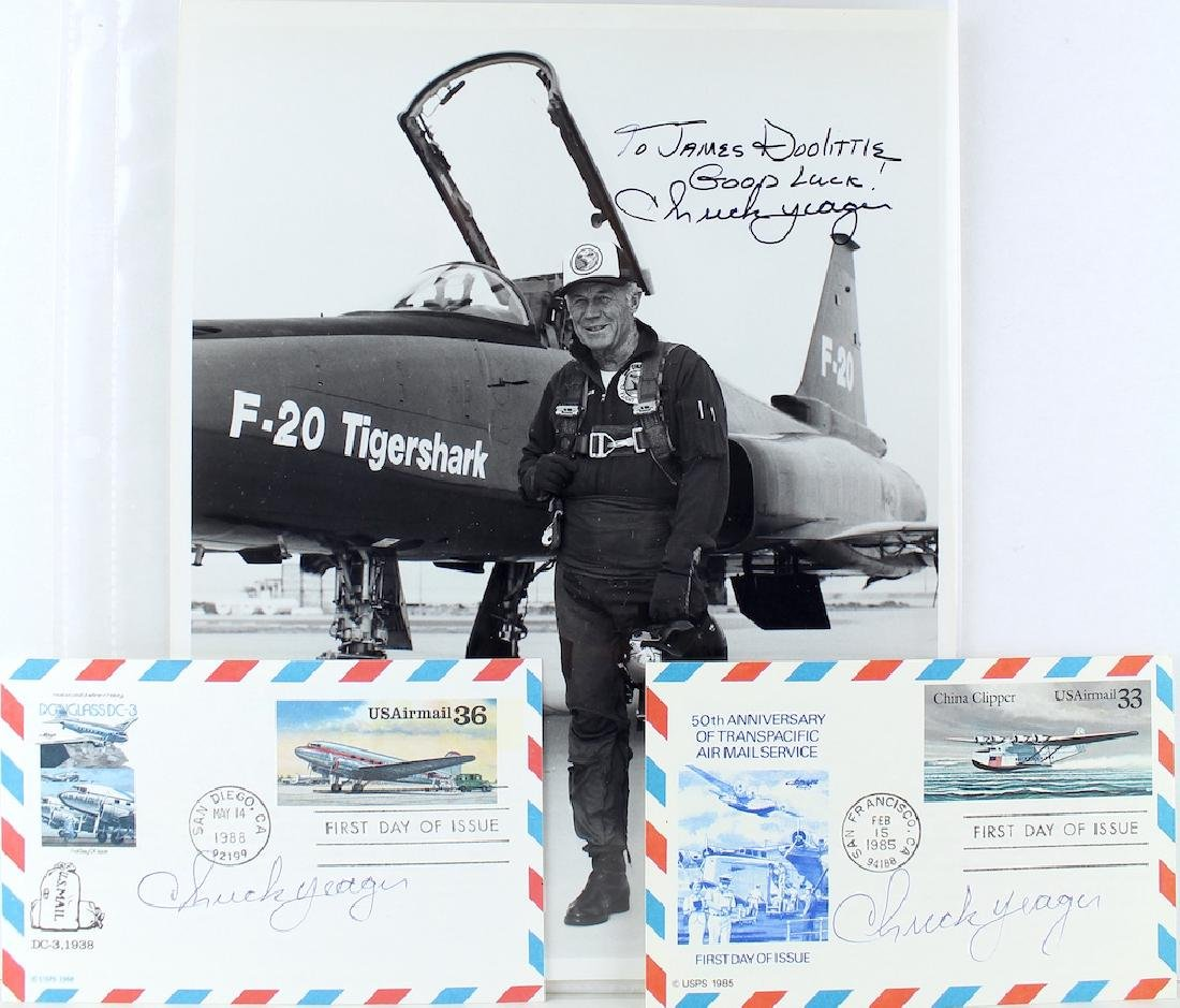 Chuck Yeager Pilot Lot 3 Signatures Including Photo