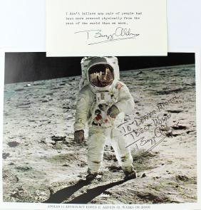 Buzz Aldrin Astronaut Signed Photo and Card