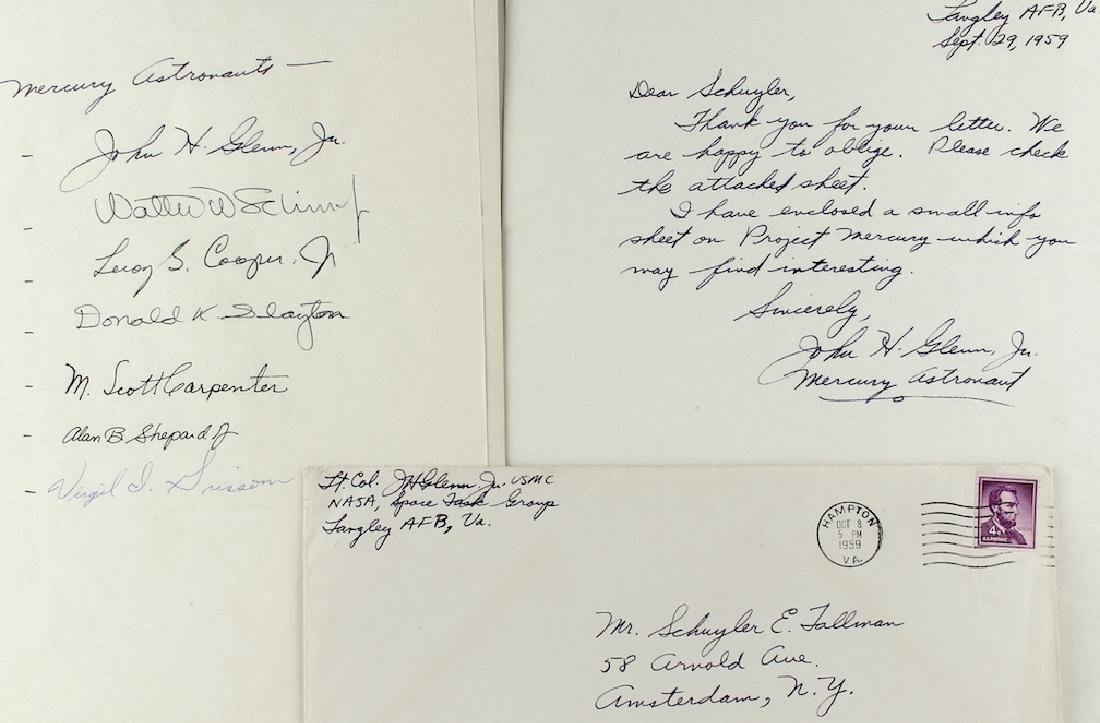 Project Mercury Orig 7 Astronauts & John Glenn Letter