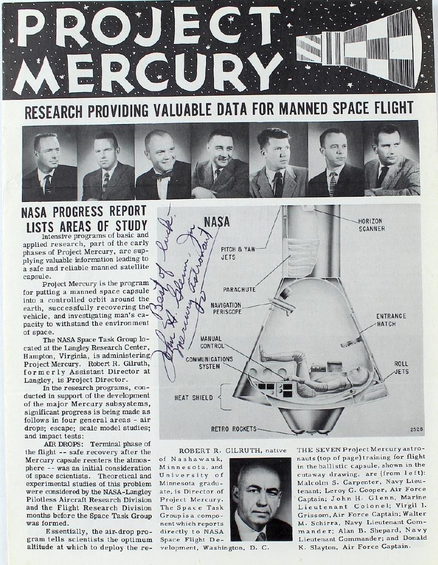John Glenn Signed Project Mercury Pamphlet