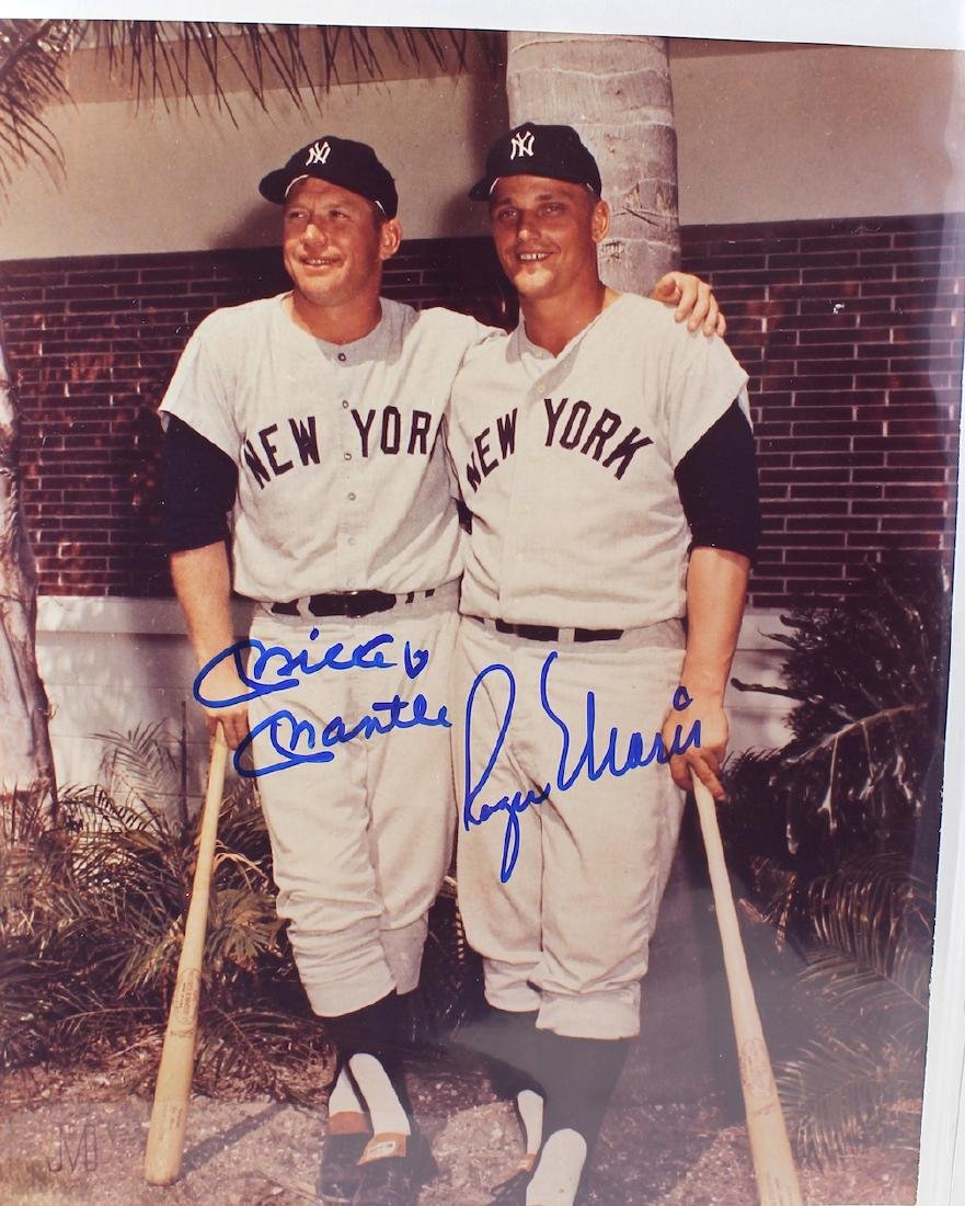 Roger Maris & Mickey Mantle Signed Color Photo