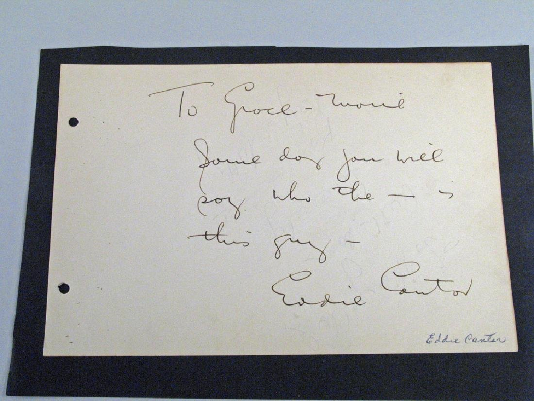 Eddie Cantor Autograph  Whimsical Note