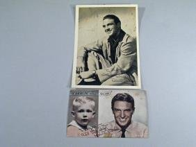 Robert Stack Postcard and Signed Photo Autograph Lot