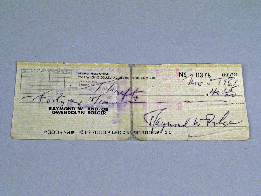 Ray Bolger Studio Photo and Cancelled Check Autograph - 3