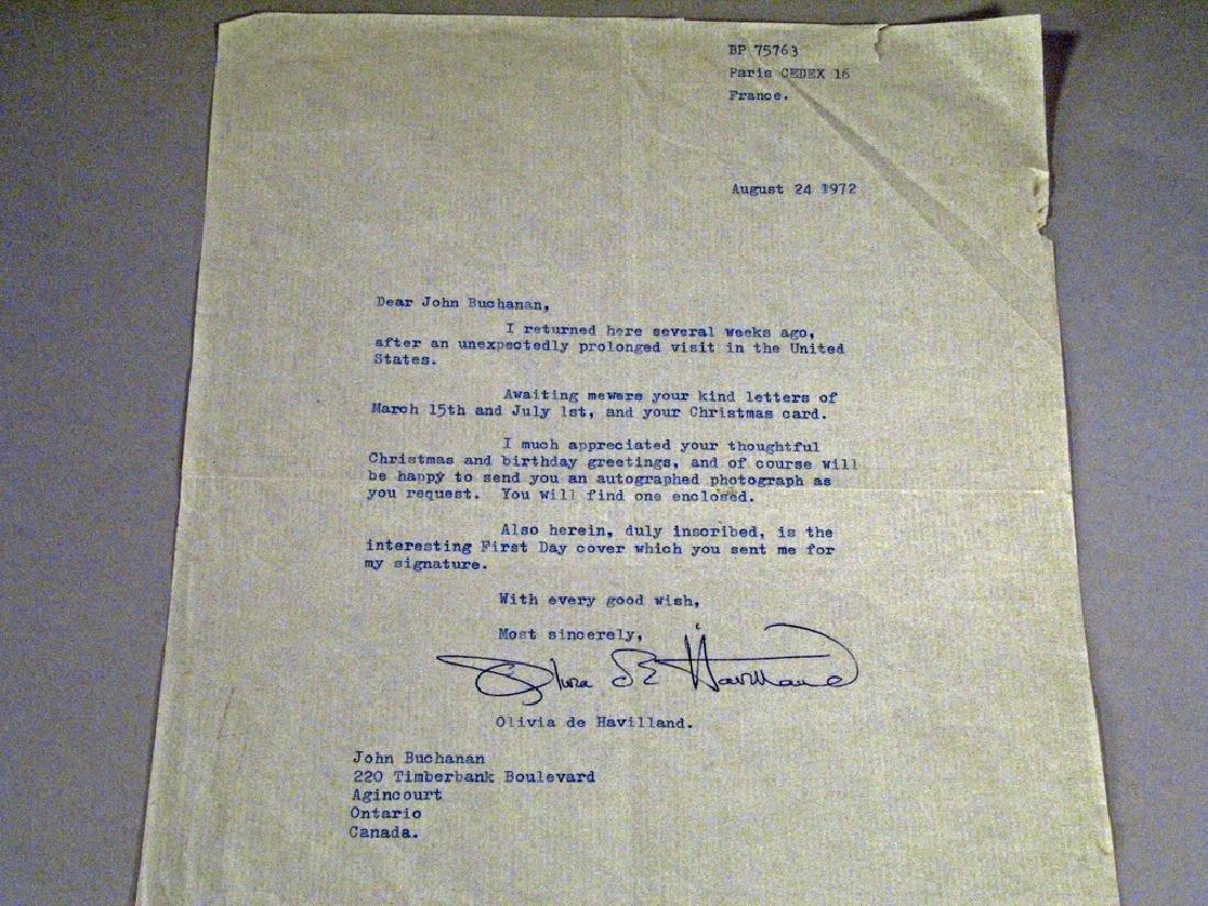Olivia De Havilland Letter Autograph