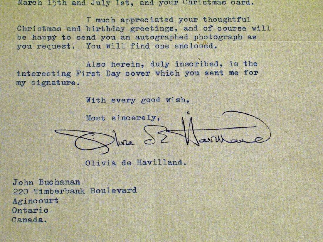 Olivia De Havilland Letter Autograph - 2