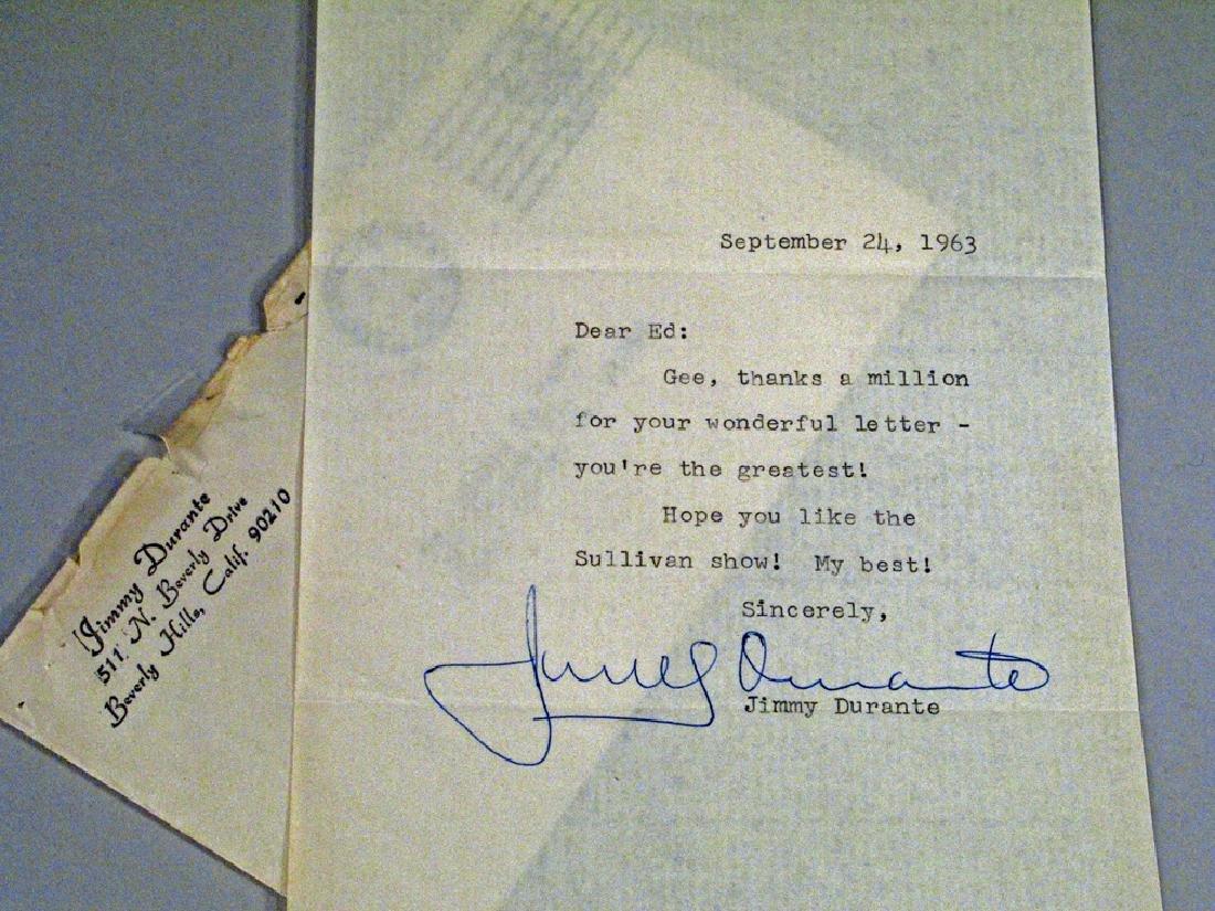 Jimmy Durante Fan Letter Autograph