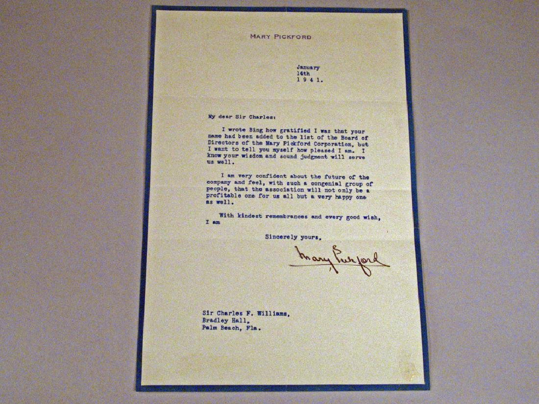 Mary Pickford 1941 Letter Autograph