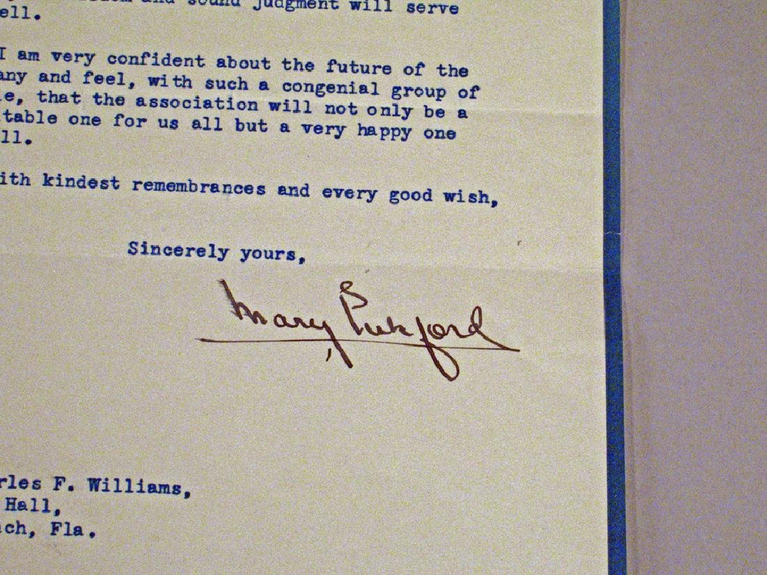 Mary Pickford 1941 Letter Autograph - 2