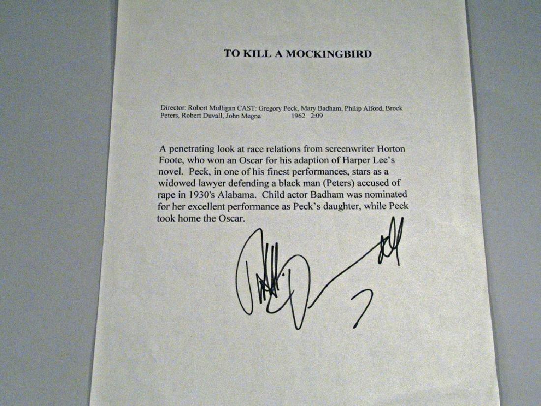 Robert Duvall To Kill A Mockingbird Autograph