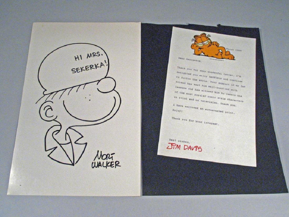 Mort Walker Beetle Bailey & Jim Davis Garfield Signed