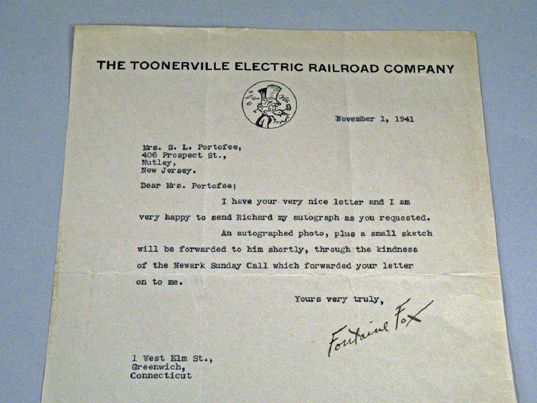 Fontaine Fox Toonerville Trolley Autograph